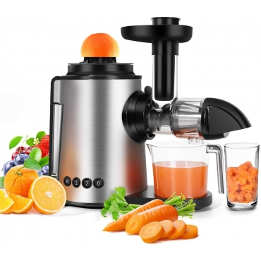 Sagnart Masticating Juicer 2 in 1 Citrus Juicer Cold-Press Juicer, Mute and Reverse Function Juicer for Fruits & Vegetables